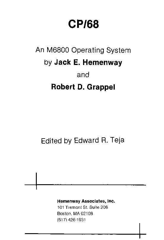 CP/68, an M6800 operating system by Jack E. Hemenway